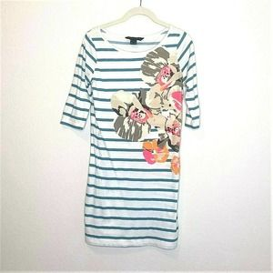 French Connection T-Shirt Dress Floral Stripe flaw